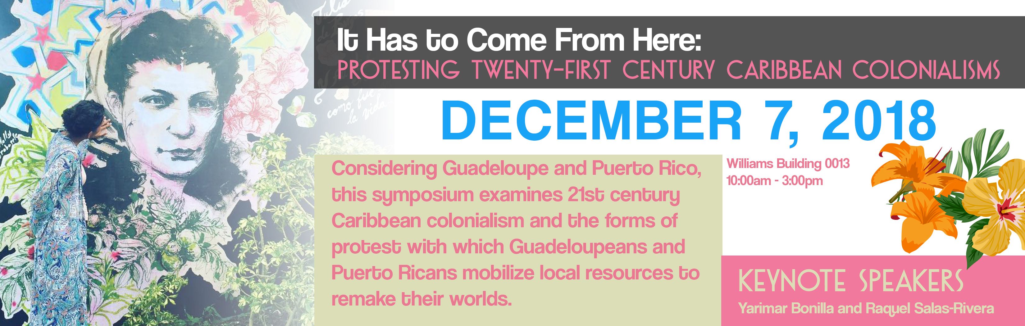 This day-long symposium takes the case studies of Guadeloupe and Puerto Rico to examine twenty-first century Caribbean colonialism. We will discuss both contemporary colonial mechanisms, as well as the forms of protest through which Puerto Ricans and Guadeloupe mobilize their local resources and relations to remake their worlds.