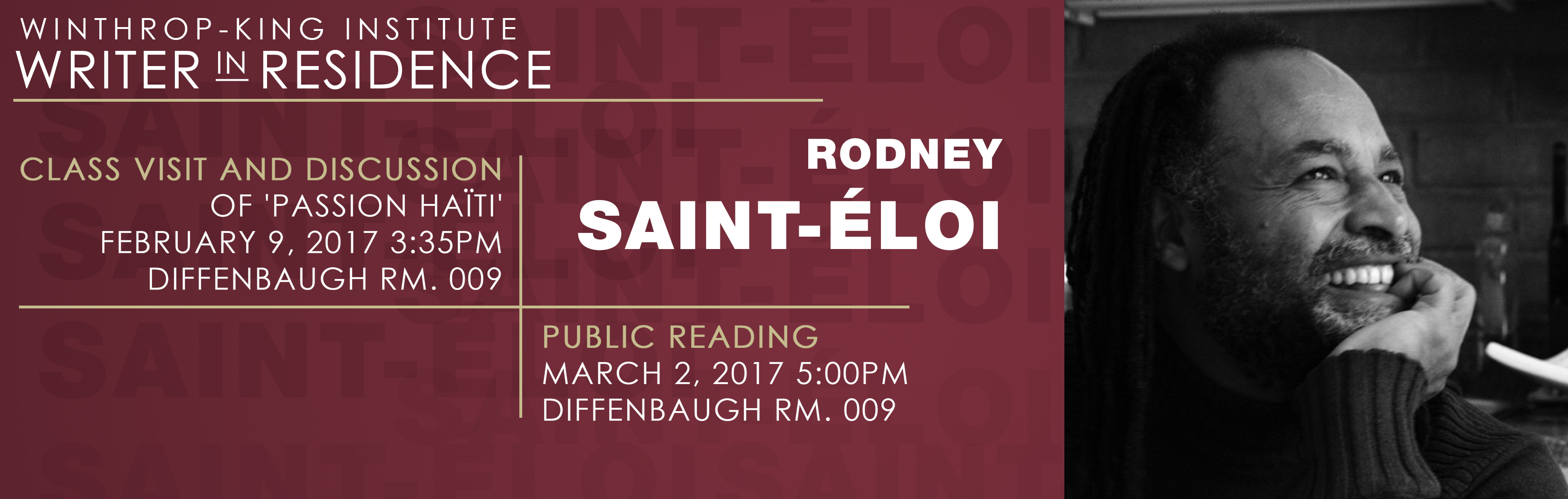 Banner for Writer in Residence, Rodney Sain-Éloi